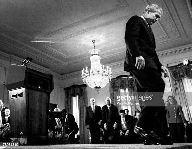 S President George W Bush walks away from the stage following a news conference in the East Room of the White House November 8 2006 in Washington DC...