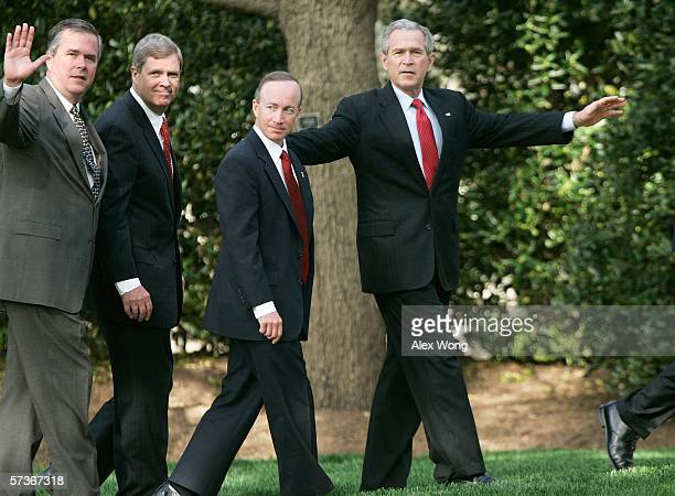 S President George W Bush walks with governors after speaking to the press on the war on terror April 19 2006 at the White House in Washington DC...