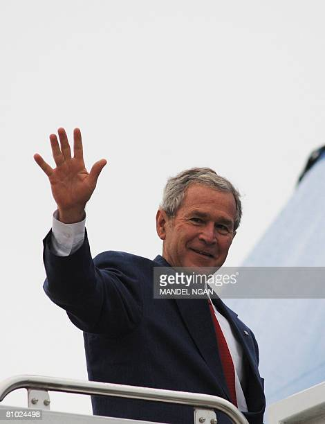 US President George W Bush waves as he boards Air Force One May 08 2008 at Andrews Air Force Base in Maryland Bush is heading to his Crawford Texas...