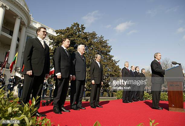 President George W Bush welcomes the seven former Soviet Bloc nations to NATO membership during a ceremony on the South Lawn of the White House in...