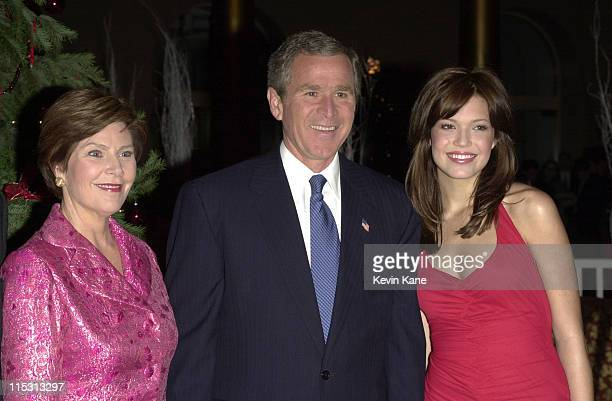 President George W Bush wife Laura Bush and Mandy Moore