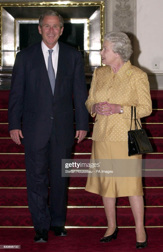 Us President George W Bush With Britain S Queen Elizabeth Ii As He