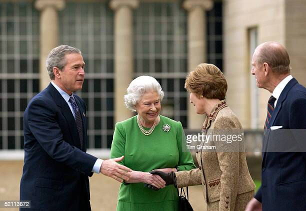 President George W Bush With His Wife Laura Takes Leave Of Queen Elizabeth II And Prince Philip As He Leaves Buckingham Palace After His State Visit...