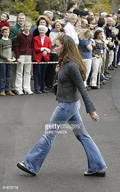 President George W Bush's daughter Barbara Bush walks past Bush supporters upon the Bushes return to the White House 10 November 2002 Barbara spent...