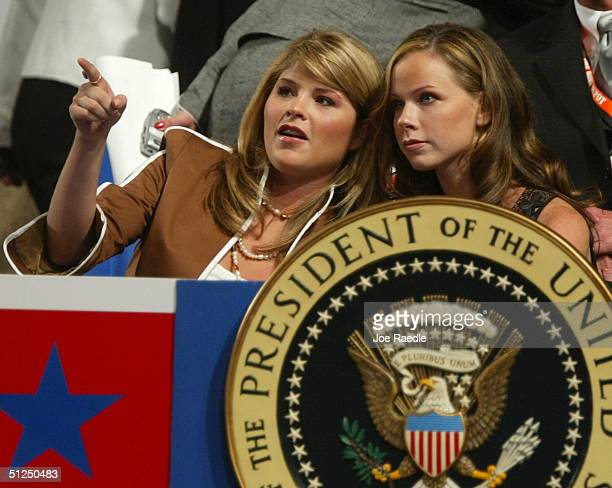 President George W Bush's daughters Jenna and Barbara sit in the presidential box in the audience on night two of the Republican National Convention...