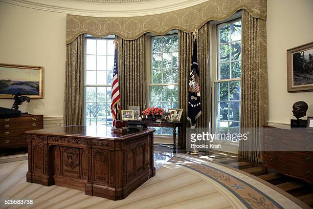 President George W Bush's desk in an empty Oval Office at the White House in Washington September 1 2005