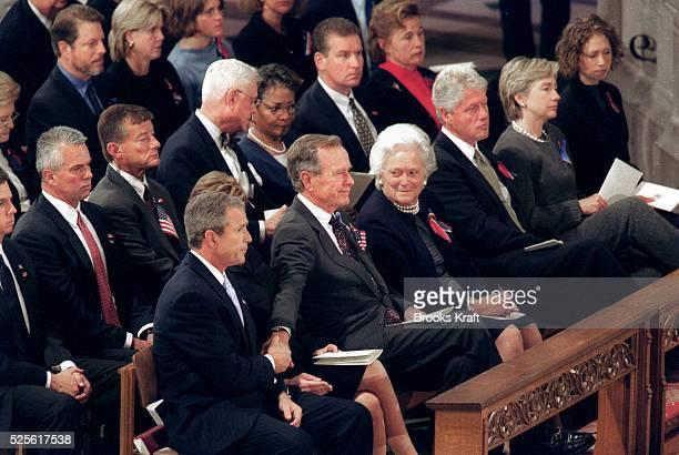 President George W Laura Bush Former President George HWBush Barbara Bush Former President Bill Clinton Sen Hillary Rodham Clinton Chelsea Clinton...