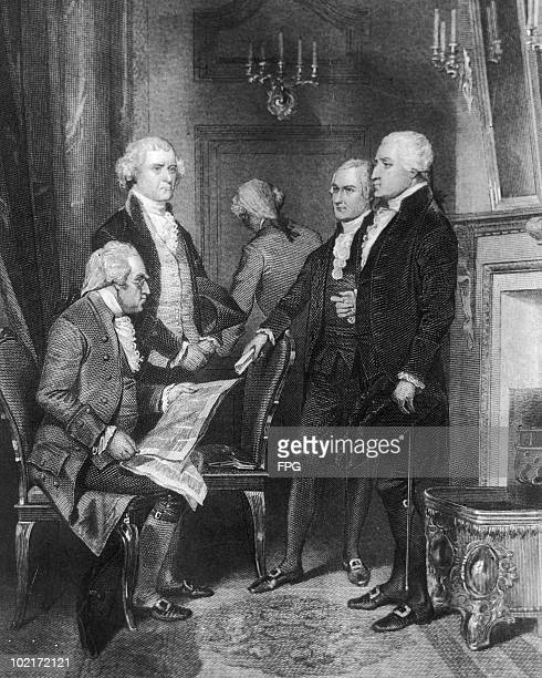 US President George Washington's first cabinet circa 1790 Left to right Secretary of War Henry Knox Secretary of State Thomas Jefferson Attorney...