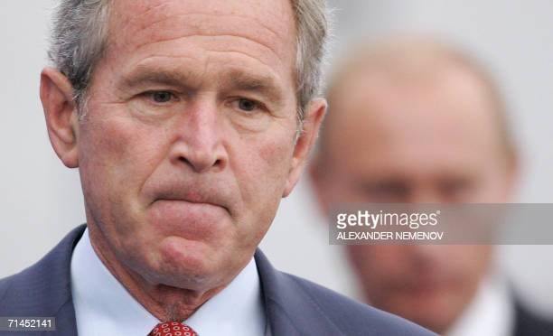 President George W.Bush and his Russian counterpart Vladimir Putin arrive to give a joint press conference at the Konstantinovsky Palace in Strelna,...