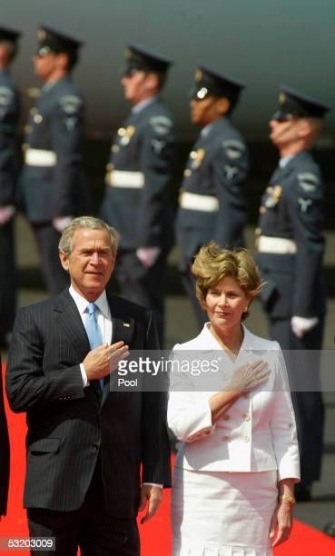 President George WBush and his wife Laura arrive at Prestwick Airport in July 6 2005 in Prestwick Scotland Leaders of the world's richest countries...