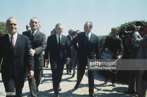 President Georges Pompidou of France pictured 3rd from left with Chancellor of the Federal Republic of Germany Willy Brandt during FrancoGerman...