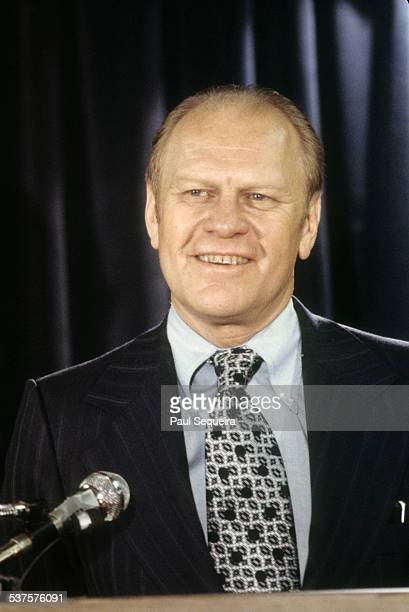 President Gerald Ford addresses the crowd during the Republican Governors Conference at Hyatt Regency Hotel near O'Hare airport Chicago Illinois 1974