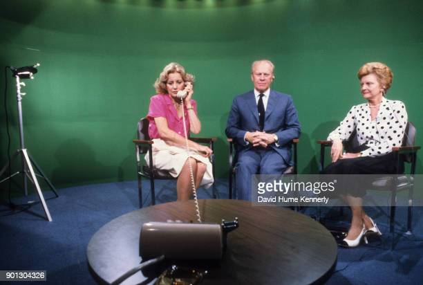 President Gerald Ford and First Lady Betty Ford on ABC News with broadcast journalist Barbara Walters during the GOP Convention Detroit Michigan July...