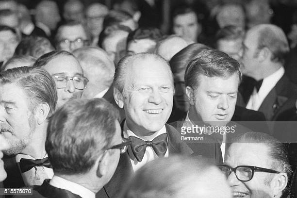 President Gerald Ford arrives to the cocktail reception of the National Football Foundation and College Hall of Fame Awards ceremony dinner.