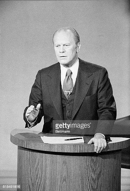 President Gerald Ford debates Jimmy Carter during the 1976 Presidential Election