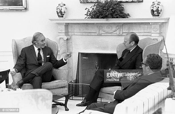 President Gerald Ford meets with Ambassador Daniel Patrick Moynihan and Henry Kissinger