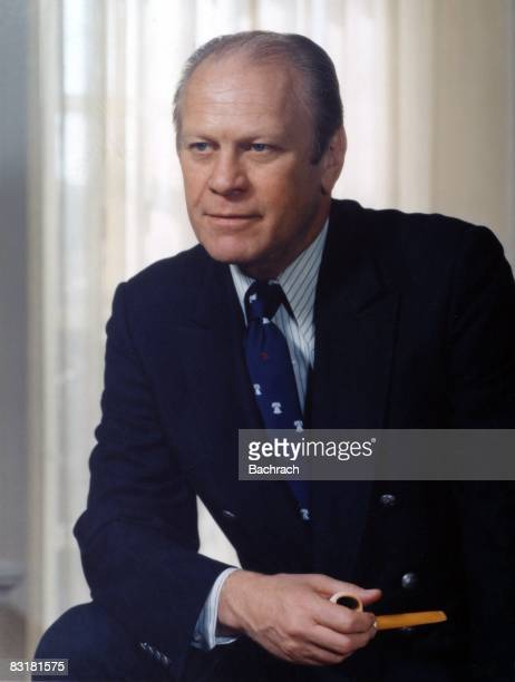 President Gerald Ford poses in the White House Ford became the 38th president of the US upon Richard Nixon's resignation Washington DC 1978