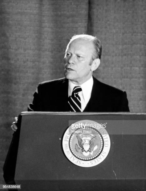 President Gerald Ford speaks on October 4, 1979 in New York City.