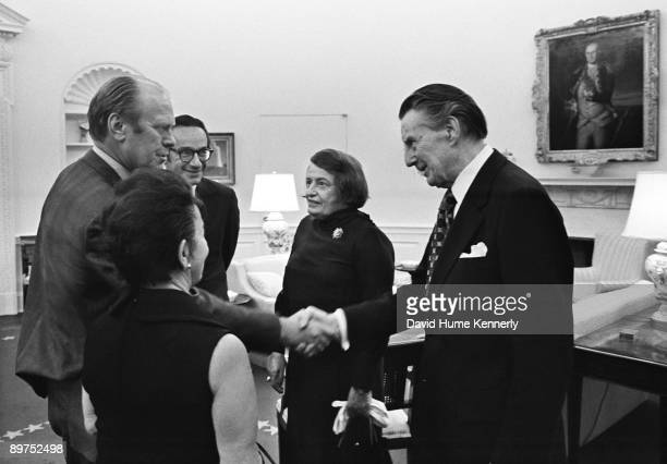 President Gerald R Ford Alan Greenspan's mother Rose Goldsmith Alan Greenspan writer Ayn Rand and Rand's husband Charles Francis Frank O'Connor after...