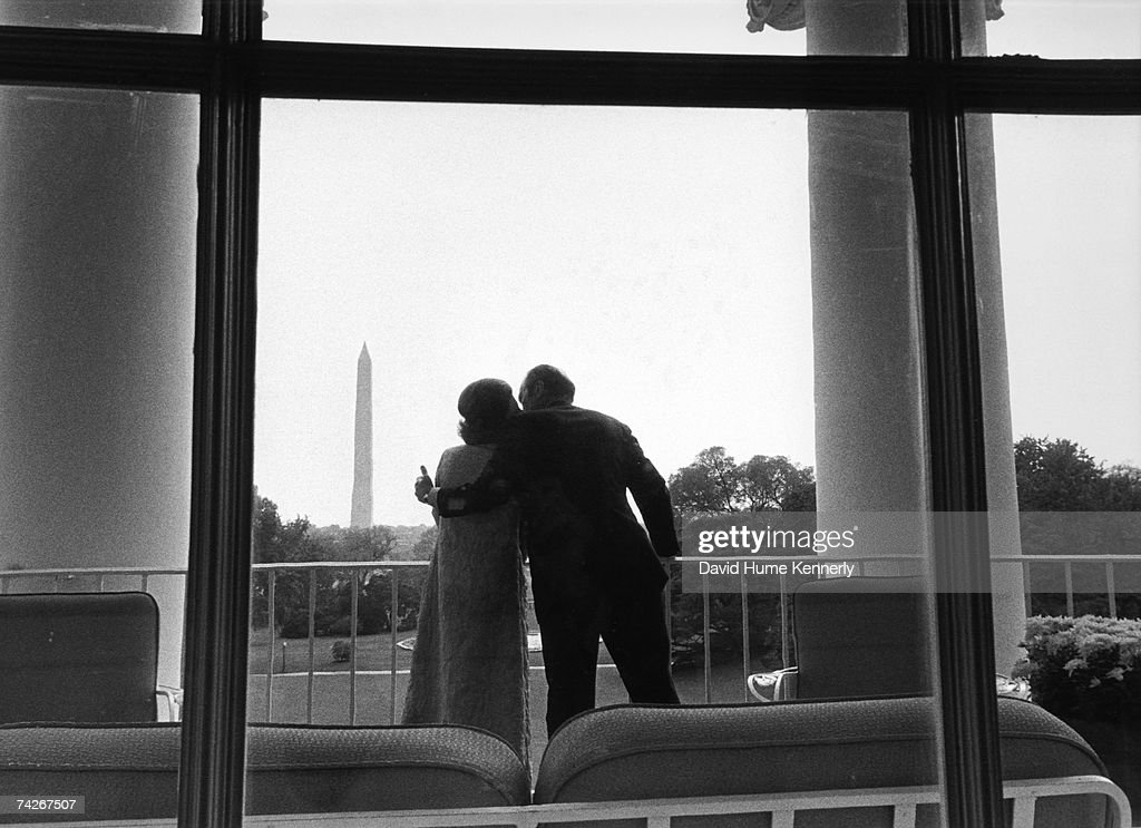 President Gerald R. Ford and First Lady Betty Ford enjoy the view on the Truman Balcony looking at the view from the second floor in the White House Executive Residence, on October 1974 in Washington, D.C. Mrs. Ford is recovering from her October 4th breast cancer surgery.
