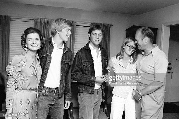 President Gerald R Ford and First Lady Betty Ford pose with three of their four children Steven Ford John Jack Ford and Susan Ford in the family home...