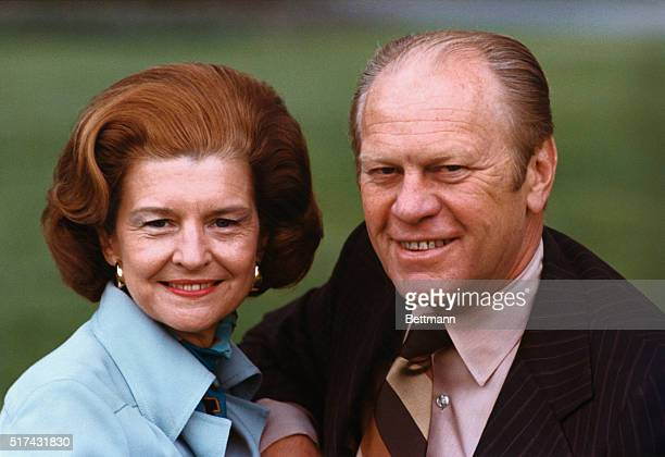 President Gerald R Ford and his wife Betty Ford pose for a portrait on the south lawn of the White House