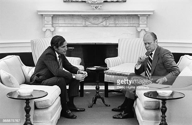President Gerald R Ford meets with Republican National Committee Chairman George HW Bush in the Oval Office August 10 1974