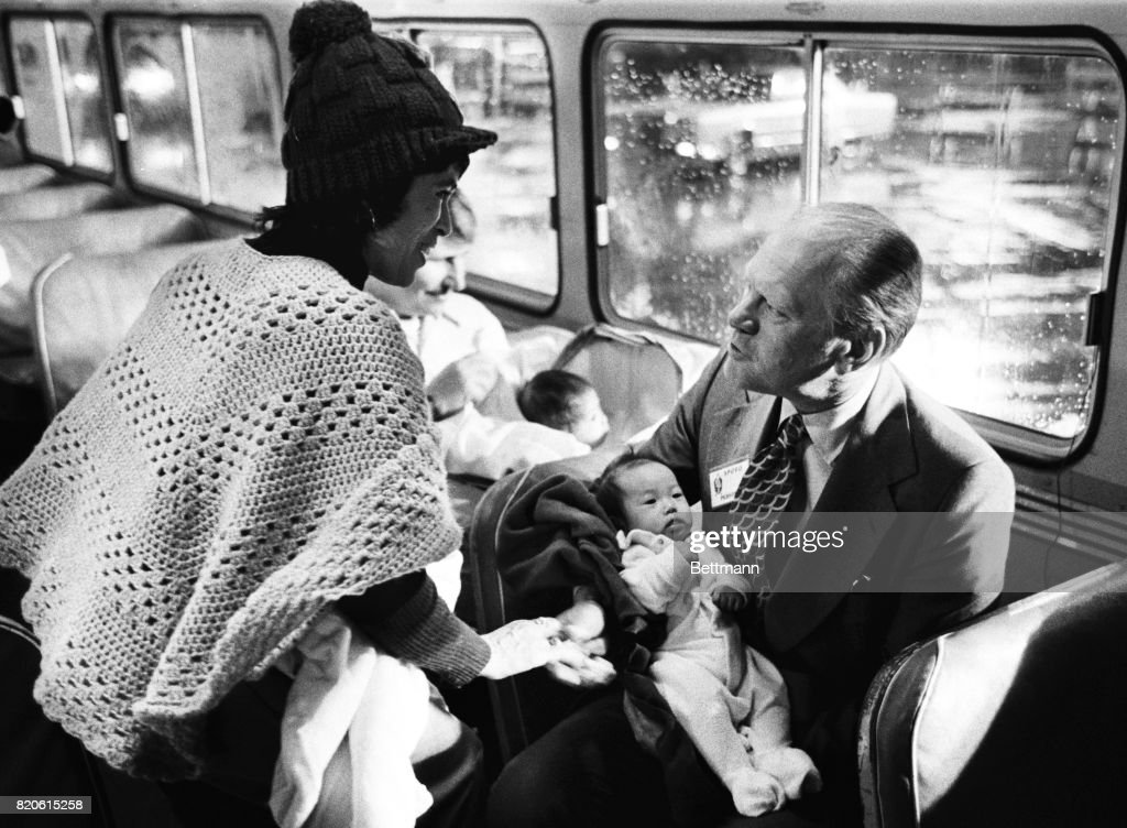 President Ford With Operation Babylift Child in San Francisco : News Photo