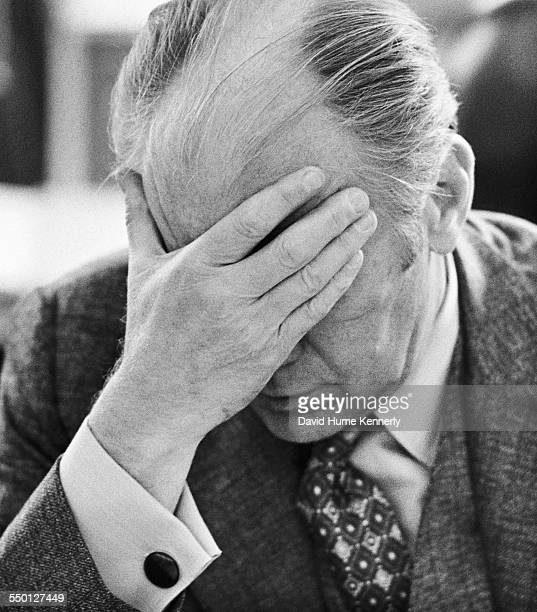 President Gerald R Ford reacts during meeting with the National Security Council in the Cabinet Room of the White House after he was briefed on how...