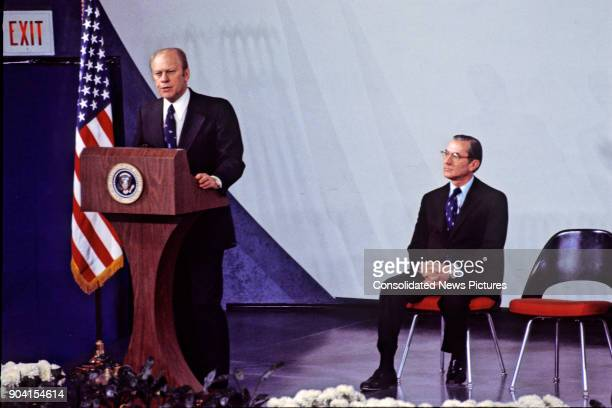 US President Gerald R Ford speaks at the Central Intelligence Agency headquarters Langley Virginia January 30 1976 Seated behind him is outgoing CIA...