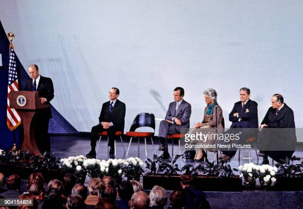 US President Gerald R Ford speaks at the Central Intelligence Agency headquarters Langley Virginia January 30 1976 Seated behind him are from left...