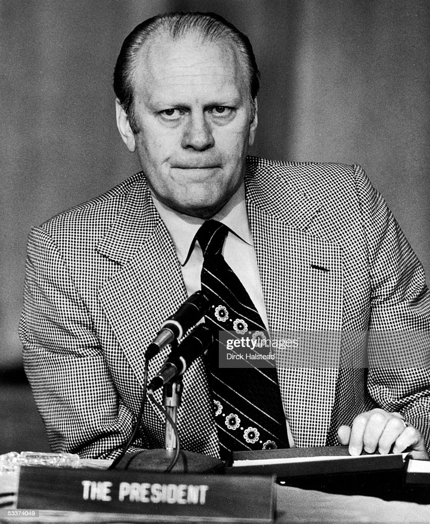 President Gerald R. Ford straining for compusure after announcing that his wife Betty was diagnosed with breast cancer.