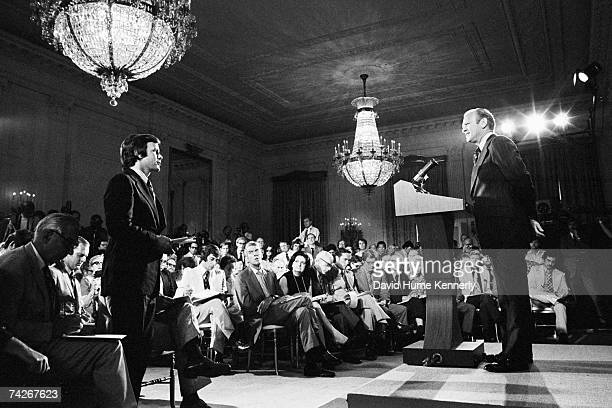 President Gerald R Ford takes a question from NBC White House Correspondent Tom Brokaw during the President's first press conference on August 27 in...