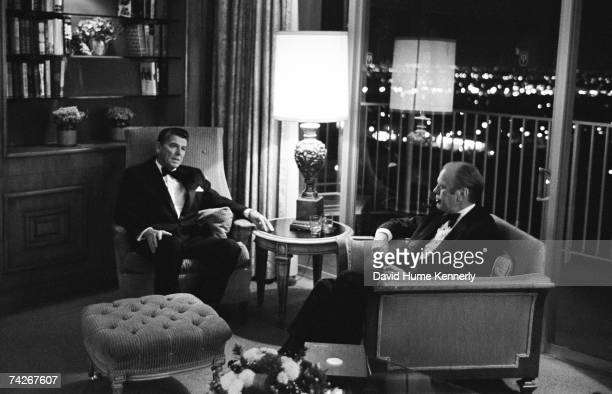 President Gerald R Ford visits California Governor Ronald Reagan at the Century Plaza Hotel on October 31 1974 in Los Angeles California Ford was...