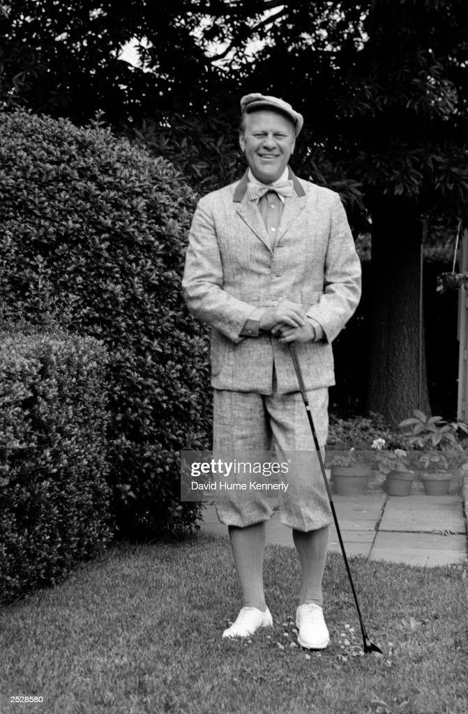 US President Gerald R Ford Wears A Vintage Golfing Outfit On His Way To