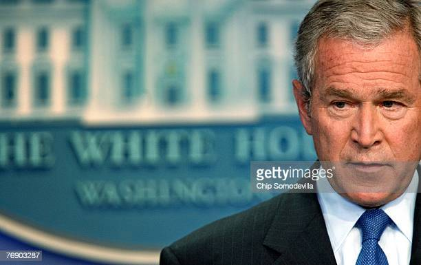 S President Geroge W Bush holds a news conference in the Brady Press Briefing Room September 20 2007 in Washington DC Bush faced questions from the...