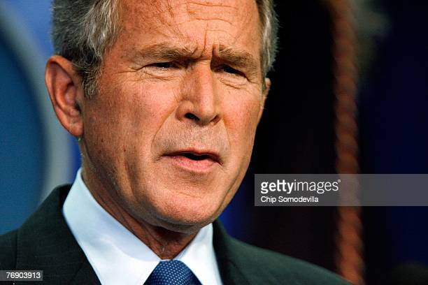 S President Geroge W Bush holds a news conference in the Brady Press Briefing Room at the White House September 20 2007 in Washington DC Bush faced...