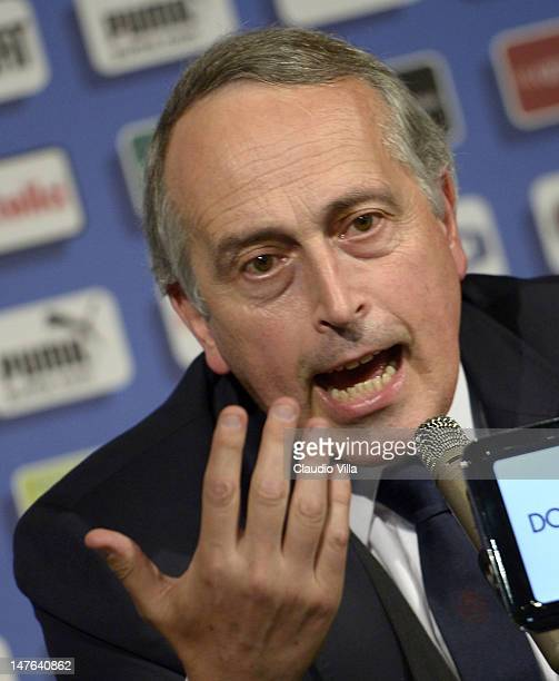 FIGC president Giancarlo Abete speaks during the Italy press conference at the Casa Azzurri on July 2 2012 in Krakow Poland