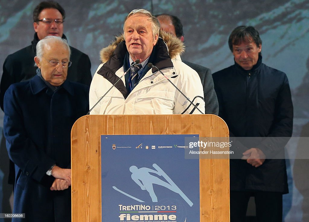 FIS president Gian-Franco Kasper during the Opening Ceremony of the FIS Nordic World Ski Championships at the Piazza Duomo on February 20, 2013 in Trento, Italy.