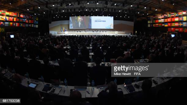 President Gianni Infantino addresses the 67th FIFA Congress at the Bahrain International Exhibition Convention Centre on May 11 2017 in Manama Bahrain
