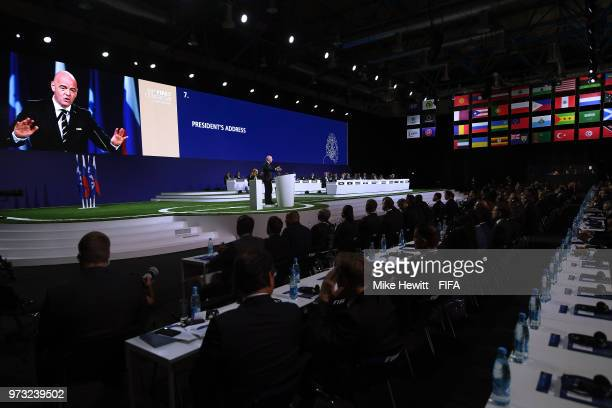 President Gianni Infantino addresses the 68th FIFA Congress at the Moscow Expocentre on June 13 2018 in Moscow Russia
