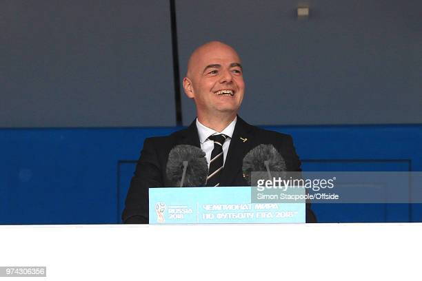 FIFA president Gianni Infantino addresses the stadium during the 2018 FIFA World Cup Russia group A match between Russia and Saudi Arabia at Luzhniki...