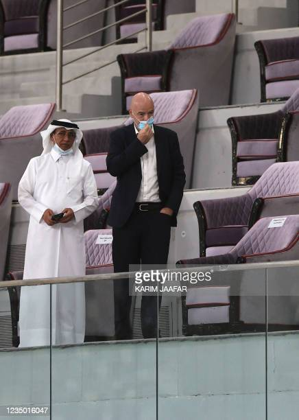 President Gianni Infantino and Asian football confederation vice president Saud al-Mohannadi are pictured during the FIFA World Cup Qatar 2022 Asian...