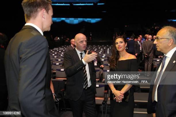 FIFA president Gianni Infantino and Carli Lloyd of the United States following the FIFA Women's World Cup France 2019 Draw at La Seine Musicale on...