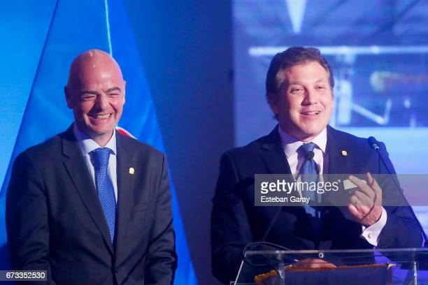 President Gianni Infantino and CONMEBOL President Alejandro Dominguez smile during the 67th CONMEBOL Congress at Sheraton Hotel on April 26 2017 in...