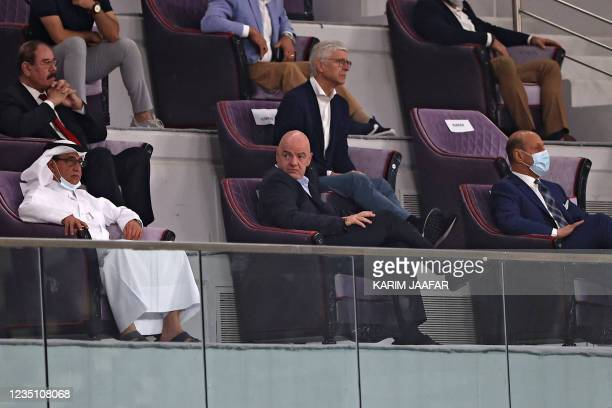 President Gianni Infantino and FIFA's Chief of Global Football Development Arsene Wenger attend the 2022 Qatar football World Cup Asian Qualifiers...