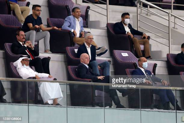 President Gianni Infantino and FIFA's Chief of Global Football Development Arsene Wenger attend the 2022 FIFA World Cup Qualifier match between Iraq...