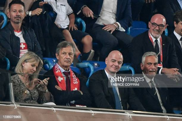 President Gianni Infantino and President of Swiss Federation Dominique Blanc attend the World Cup 2022 qualifier football match between Switzerland...