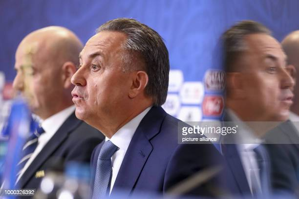 President Gianni Infantino and Russian Deputy Prime Minister Vitaly Mutko photographed during the final press conference of FIFA at the World Cup...