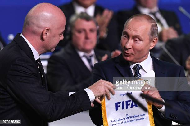FIFA president Gianni Infantino and Russian President Vladimir Putin attend the 68th FIFA Congress at the Expocentre in Moscow on June 13 2018